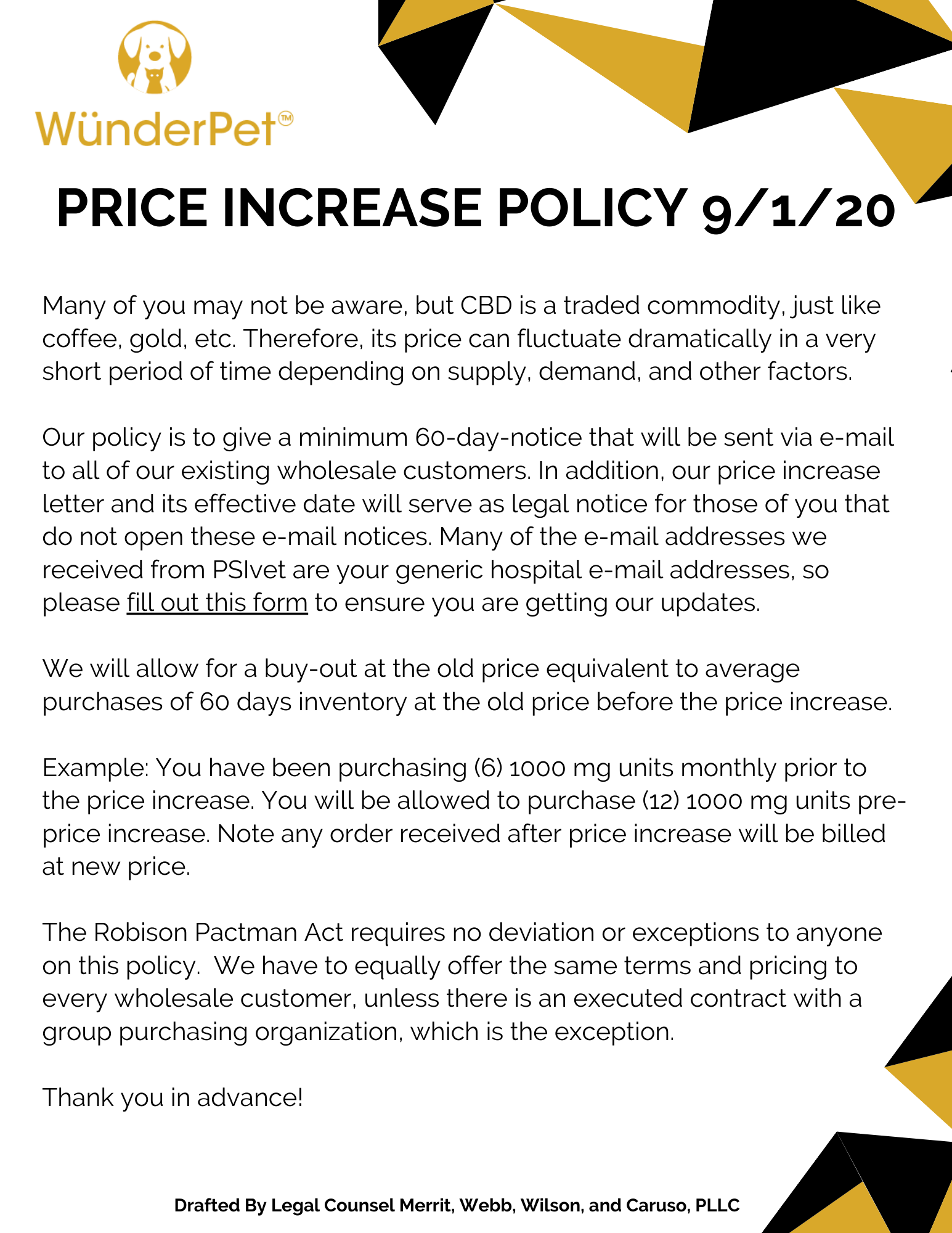 WünderPet Price Increase Policy 8.26.20